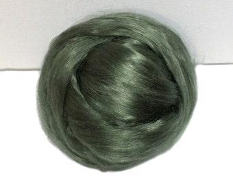 Sage Green Bamboo roving, top, Needle Felting,  Spinning Fiber, Medium Green, silver green, Pistachio  1 oz.