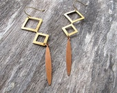 Metal Earrings Brass Bronze Dangles Geometric Diamond Shaped Dagger Charms 1970s