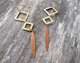 Metal Earrings Brass Bronze Dangles Geometric Diamond Shaped Dagger Charms 1970s