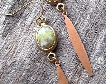 Charm Drop Earrings Vintage Lemon Gold Marbled Bronze Dagger 1970s