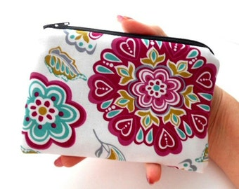 Little Padded Zipper Pouch Coin Purse ECO Friendly NEW Retro Rhapsody