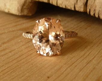 Oval Morganite and Half Eternity Diamond Ring - Deposit