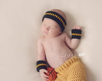 baby boy photography prop headband and wristbands basketball set choose your team colors