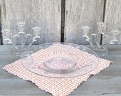 Vintage Imperial Glass Double Heart 3 Pc Console Set, 3 Light Candelabras, Footed Center Bowl, Frosted Etched Trumpets