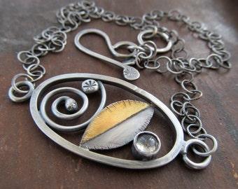Short Silver Choker Necklace Oval Window Pendant Labradorite Spiral Leaf Design 23K Gold Keum Boo Necklace