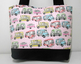 Medium Purse, Ice Cream Tote Bag, Pink Purse with Pockets