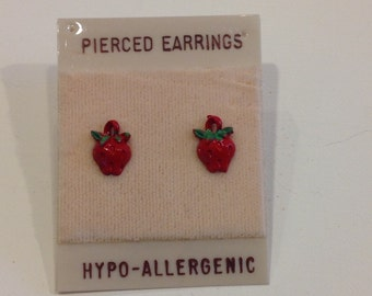 Vintage oldstock funky  hypo-allergenic costume strawberry stud earrings set