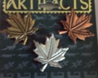J.J. artifacts maple leaf leaves tack pins set of 3