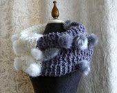 Snow Bunny Cowl - chunky oversized cowl - smoky grey and winter white