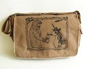Sasquatch & Unicorn Messenger Bag, Screen Printed Cotton Canvas Messenger Bag, Mens Messenger Bag, Womens Over the Shoulder Bag,Computer Bag