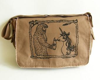 Sasquatch & Unicorn Messenger Bag, Screen Printed Cotton Canvas Messenger Bag, Valentine Gift, Mens Messenger Bag, Womens Messenger Bag