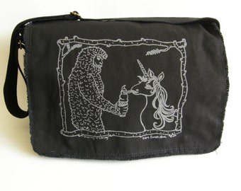 Sasquatch & Unicorn Messenger Bag, Hand Screen Printed Cotton Canvas Messenger Bag, Valentine Gift, Mens Messenger Bag, Computer Bag,