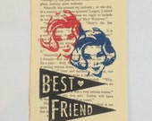 BEST FRIEND gocco print limited edition by Gemma Jones (vintage book page) *free shipping*