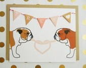 """Valentine's Day """"TRUE LOVE"""" Heart English Bulldogs Flag Garland Blank Note Card with Envelope"""