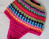 Crochet Earflap  Hat  for Toddler Multicolor Ready to Ship