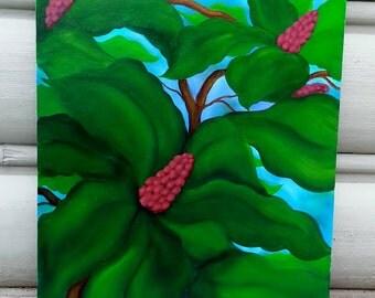 Umbrella Magnolia Oil Painting