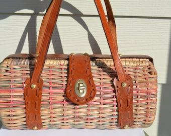 Vintage Wicker and Leather Barrel Handbag Made in Hong Kong