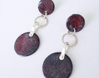 Burgundy Dangle Earrings Outer Space Lover Modern Contemporary Earrings, Red Black Post Earrings, Artisan Sterling Silver Circle Dangles