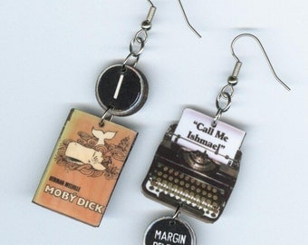 Book Earrings - typewriter jewelry - Moby Dick quote - asymmetrical mismatched - Literary Librarian's Teacher's readers bookish gift