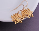 Gold Lotus Earrings, Lotus Flower Earrings, Lotus Jewelry, Yoga Teacher Gift