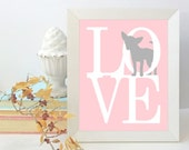 Chihuahua Art Print, Chihuahua Home Decor, 8x10 Puppy Love Dog Silhouette Wall Art, Chihuahua Gift for Pet Lovers, Pink and Grey