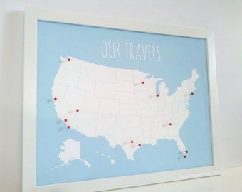 US Map With Pins, DIY Kit, United States Push Pin Map, Wall Art Print, Foam Core, Pinnable USA Travel Board, Paper Anniversary Gift