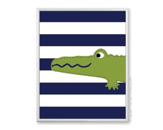 Navy Blue And Green Wall Decor : Items similar to alligator nursery boys wall art navy and