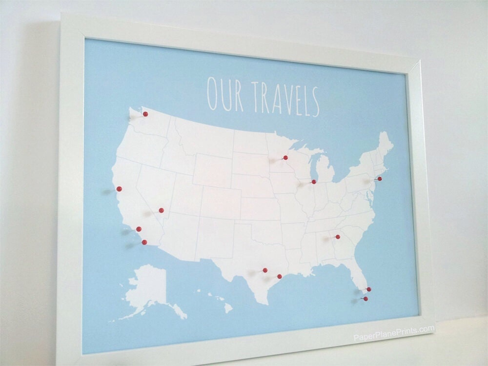 US Map With Pins DIY Kit United States Push by PaperPlanePrints – Us Travel Map States