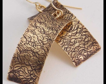 CARA - Handforged Textured Antiqued Concave Bronze & 14KT GF Earrings