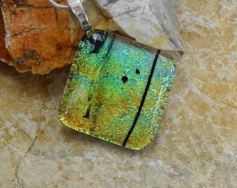 Diagonal Fused Glass Pendant, Dichroic Glass Pendant, Fused Glass Jewelry, Dichroic Glass Jewelry, Gold and Green Glass Pendant, Glass Slide