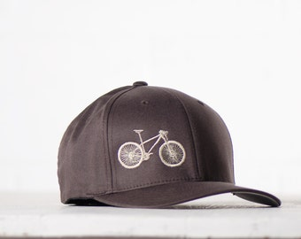MOUNTAIN BIKE L/XL Flexfit Fitted Cap - cream embroidery on brown hat, large/extra large