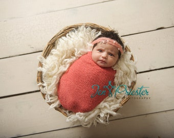 Newborn halo tie back photo photography prop baby girl headband delicate mohair peach apricot coral pink white faux pearls princess crown