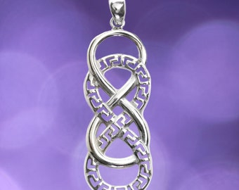 Double Infinity Symbol with Meander ~ Sterling Silver Pendant