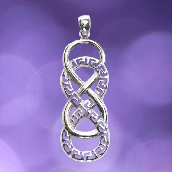 double infinity symbol with meander sterling silver pendant