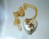 Puffy Pearl Heart Necklace Roses Necklace Long Chain Unused