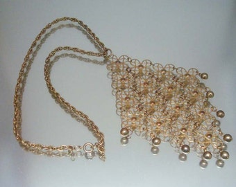 1970's Lacy Diamond Shape Medallion Necklace Gold Beads