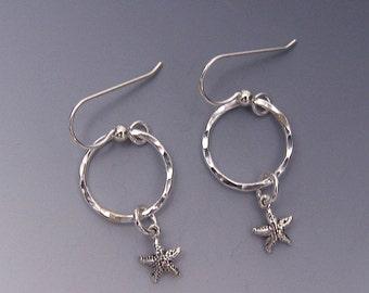 Starfish Charm Dangle Earrings Sterling Silver Circle