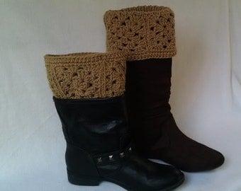Tan Granny square boot cuffs - crochet boot toppers, boot socks, mini leg warmers, crochet cuffs