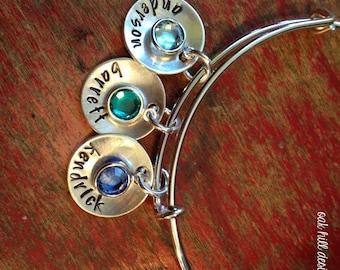 personalized bangle bracelet-stamped name bracelet with birthstones-adjustable stainless steel bracelet-charm bracelet-personalized-name