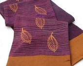 Raw silk scarf, leaf print scarf,purple and copper, hemp silk edged scarf, screenprinted by hand, hand dyed, fall leaf design, striped scarf