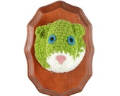 crocheted green squirrel head, faux taxidermy, wall hanging, humorous home decor