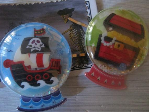 Kawaii Pirate Treasure and Ship Snow Globe Hair Pins