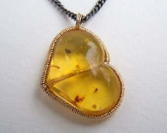 Dominican Amber Heart 14k gold filled wrap,oxidized sterling silver necklace
