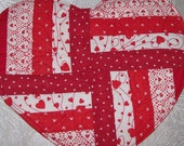 Mug Rug-Quilted-Valentine-Hearts-Red
