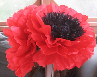"""12, 12"""" Fully Bloomed Tissue Paper Poppies, Sunflowers, Gerbera Daises, Peonies Pews, Chairs, Hang, ribbon, ready to use"""