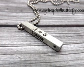 mens necklace-4 sided bar necklace-dad necklace- gift-boyfriend-personalized mens necklace-personalized key chain