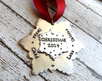 personalized Christmas ornament - snowflake ornament-Christmas gift-Holiday gift-hand stamped ornament-christmas ornament