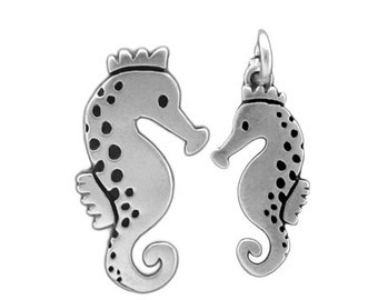 Mother Daughter Seahorse Necklace Set - Two Sterling Silver Seahorse Pendants