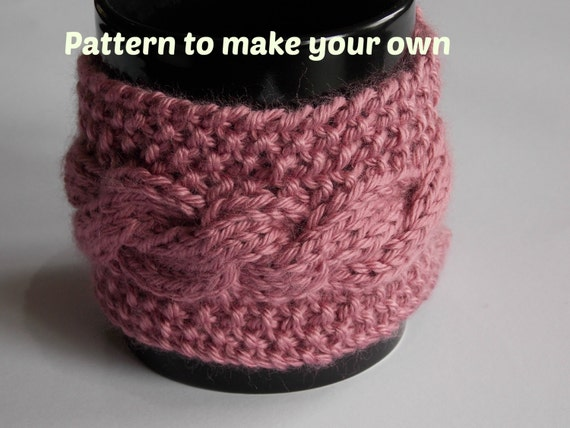 knitting PATTERN cabled coffee cup mug cozy knit cable
