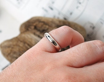 Sterling Silver Half Round Ring size 6.5